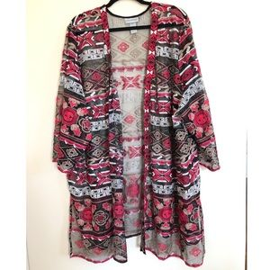 All Over Embroidered Sheer Jacket Open Cardigan